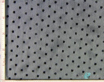 Black Point D'Esprit Mesh with Dot Fabric 2 Way Stretch Nylon  52-53""