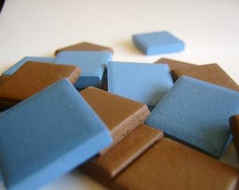 2 Pounds Mosaic Tile Blue Brown Squares Unglazed  1x1 inch
