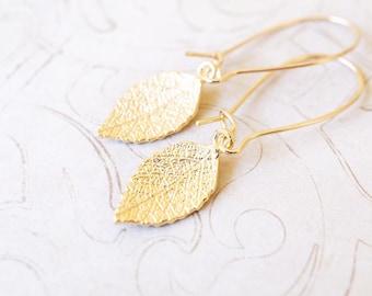 Earrings, Gold Earrings, Leaf Earrings, Long Earrings, Botanical Earrings, Handmade Earrings, Dangle Earrings, Drop Earrings, Gift for Her