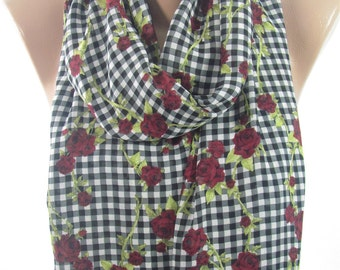 Plaid Scarf Floral Rose Scarf Infinity Scarf Mothers Day    Gift for  Fashion Gift for Mom Gift for Wife Teen B Holiday Gift Gift For Women