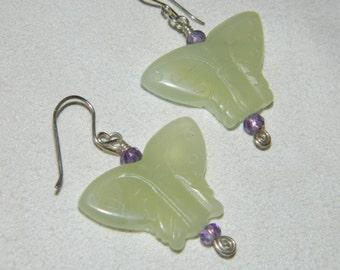 Serpentine Butterfly, Amethyst and Sterling Silver Gemstone Dangle Earrings