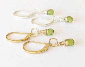 Green Earrings, Peridot Earrings, Tiny Gemstone Earrings, Everyday Earrings, August Birthstone, Delicate Gold Earrings, Leverback Earrings,