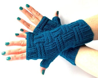 Teal Knit Fingerless Gloves. Knitted Fingerless Mittens. Arm Warmers. Wrist & Hand Warmers. Women Accessories.