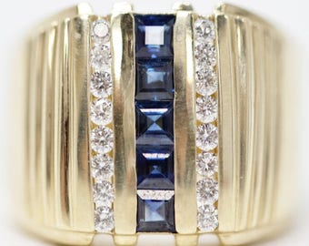 Sapphire - September Birthstone, 14k Gold Vintage Vertical Ring Size 8.5