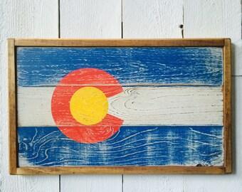 Colorado State Flag Wall Decor - Rustic Farmhouse Home Decor - Reclaimed Wood - State Flag Wall Art -Handmade Pallet Flag - Wood Sign Art