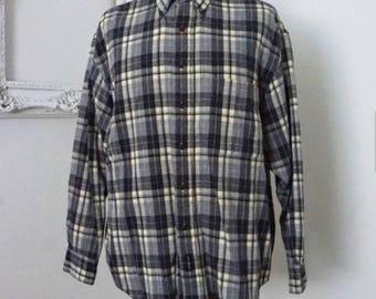 Vintage Gray Plaid Flannel Shirt Men Sz M