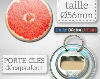 Keychain bottle opener Fruit grapefruit citrus grapefruit idea gift Badge 56 mm