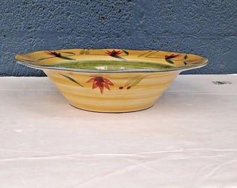 "Pier 1 Elizabeth Hand Painted Stoneware Large 12"" Pasta/Salad Serving Bowl"