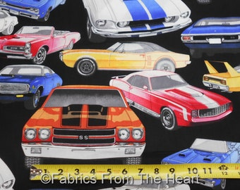 Pure Muscle Hot Rod Race Cars on Black BY YARDS Alexander Henry Cotton Fabric
