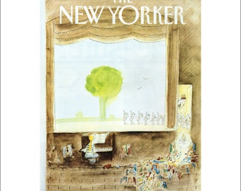 """Vintage The New Yorker Magazine Cover Poster Print Art, Sempe,1981 Matted to 11"""" x 14"""", Item 001, Ballet"""