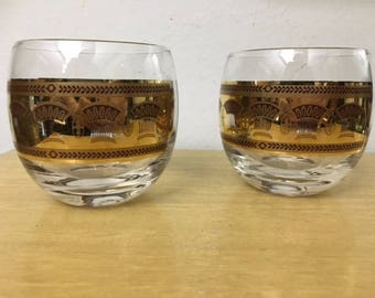 Culver Glass Festival Pattern (2) LARGE Roly Poly rocks glasses