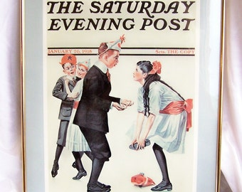 Wall Decor, Norman Rockwell, Children, Saturday Post, Early 1900s, Prints, Pictures, Wall Hangings, Set of 4, Free Shipping, Collectible