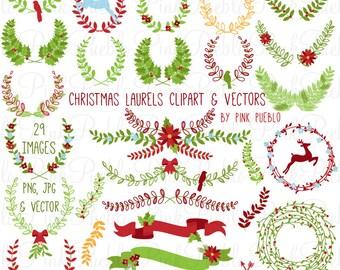 Christmas Laurel Clipart Clip Art, Christmas Holiday Laurel Wreath Leaf Clip Art Clipart Vectors - Commercial and Personal Use