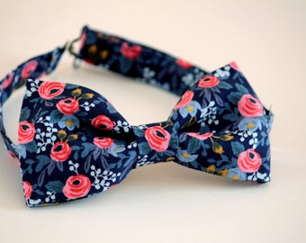 Blue floral bow tie, blue and coral bow tie, wedding bow tie, men's bow tie, groom bow tie, groomsmen bow tie, ringbearer bow tie, boy's tie