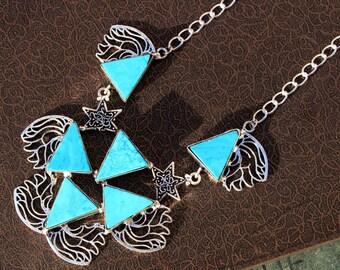 "19"" Long Turquoise Trillion Gemstone Necklace, Turquoise Silver Necklace, Gemstone Designer Necklace, Bohemian Tribal DP06"