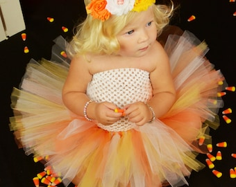 Ready To Ship Candy Corn Sweetie Tutu or Dress  Size 3 6 9 12 Months 2T 3T 4T 5 6 7 8 10 12 Halloween Birthday Costume Orange Yellow White