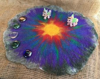 Rainbow Sun Fairyland and Unicorn Small World Felted Play Mat