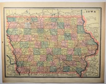 1893 AntiqueIowa State Map
