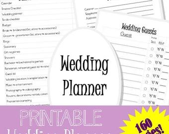 PRINTABLE wedding planner 2 - 160 pages!  Wedding checklist, wedding to do list, wedding organizer