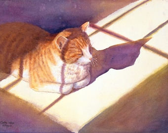 Orange cat art watercolor painting print by Cathy Hillegas, Catnap, 12x16, orange, purple, yellow, blue, green, watercolor cat, sleeping cat