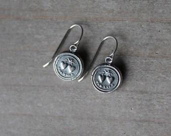 Hearts wax seal fine silver earrings