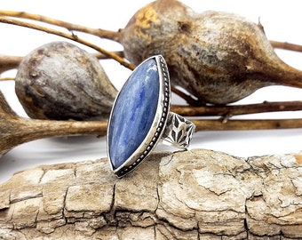 Kyanite Ring Gemstone Ring Bohemian Jewelry Boho Ring Sterling Silver Stamped Ring Kyanite Jewelry Blue Stone Ring Statement Ring Size 7-1/2