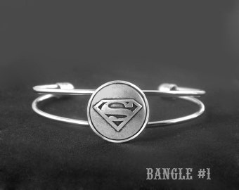 Superman Adjustable Bangle -Superman Bracelet -Super Hero Bracelet -Wedding Jewelry