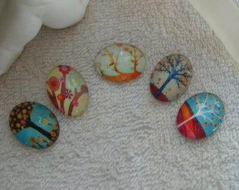 CABOCHONS trees ABSTRATS 2.5 cm glass oval vintage trees and abstract set of 5 units for media pendants