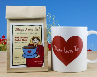 Mug and Herb Tea Gift Set, 100% Organic, with Gift Wrap Option for Valentine's Day, Mother's Day, Birthday, or Holiday Gift Giving