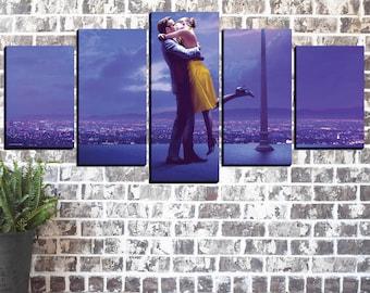 Emma Stone Art Print, La La Land Art Print, Movie Canvas Print, Ryan Gosling Poster, Canvas Panels, Large Print, Big Framed Poster