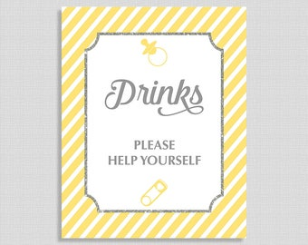 Yellow Drink Table Sign, Yellow Stripe Baby Shower Table Sign, Drinks Sign,  Gender Neutral, INSTANT PRINTABLE