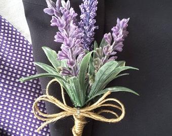 Lavender boutonniere,  Lavender vintage boutonniere,  Lavender wedding,  Lavender rustic boutonniere