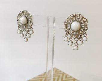 Vintage White Cabochon Silver Filigree Fringe Dangle 70's Earrings