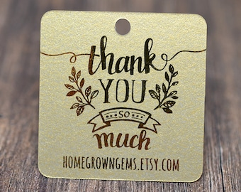 Gold Thank You So Much Tags - Customized - Gift Tags - Wedding - Packaging Metallic Gold
