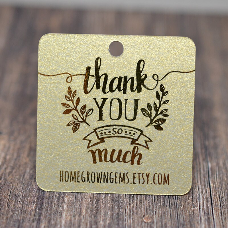 Gold Thank You So Much Tags Customized Gift Tags Wedding