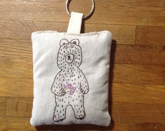 Hand dyed and embroidered lavender sachet