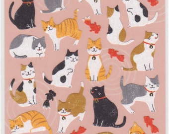 Cat Stickers - Japanese Paper Stickers - Mind Wave - Reference A3853-55