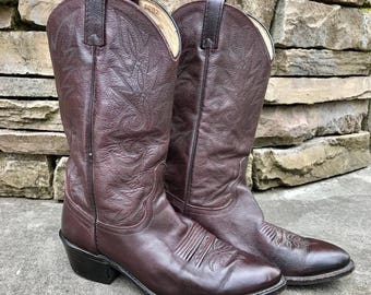 Vintage DAN POST Oxblood CowboyBoots Vtg Burgundy Leather Western Boots Made in USA Men's Size