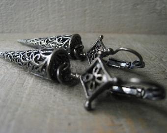 Filigree Statement Earrings Black Dagger Earrings Oxidized Silver Spike Earrings Item No. JE2096
