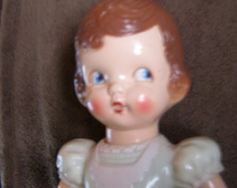 "1940s Irwin Hard Plastic Mechanical Wind-Up Walking Doll - 11"" Tall"