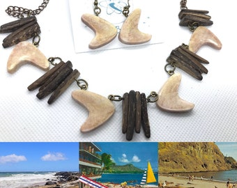 Driftwood Boomerang Tiki Necklace and Earrings