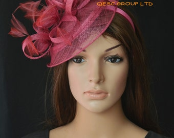 Wine fascinator Sinamay feather hat fascinator  for Kentucky derby wedding party melbourne cup ascot races.