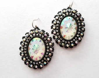 Black Native Beaded Earrings