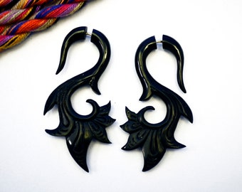 Fake Gauges Earrings Swan Black Horn Organic Earrings Natural Tribal - FG039 H G1