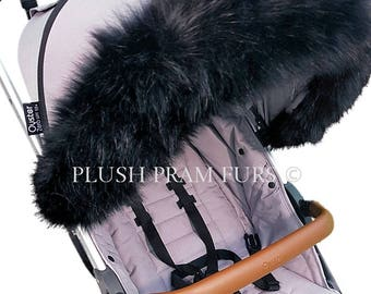 Black Fluffy Pram Hood Fur. Free UK P&P