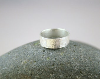 """Hammered Ring, Fine Silver 1/4"""" Wide, Wide Band, Wide Silver Band, Wide Hammered Ring, Wide Ring, Wide Silver Ring"""
