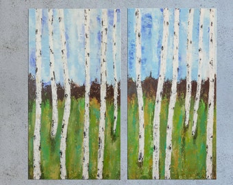 Birch Tree Painting, Palette knife Abstract art, Landscape Forest painting, Acrylic Impasto, Contemporary Texture Painting, Modern wall art