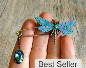 dragonfly brooch, best selling dragonfly shawl pin brooch, patina dragonfly kilt pin brooch