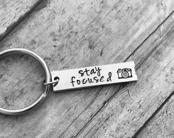 photographer gift  with camera - stay focused - camera keychain  - great gift - snap - pictures - photos