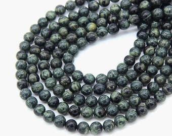 Green Rhyolite 6mm 8mm 10mm Dark Green Birds Eye Rhyolite Beads Green Mala Beads Natural Green Gemstone Beads Dark Green Stone Beads